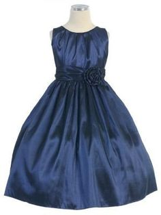 Lovely Pleated Taffeta dress with hand rolled flower at the waist. Perfect for Holy Communion, Junior Bridesmaid dress, Flower Girl Dress, Graduation Dress, Birthday girl dress. Taffeta dress. Balleri