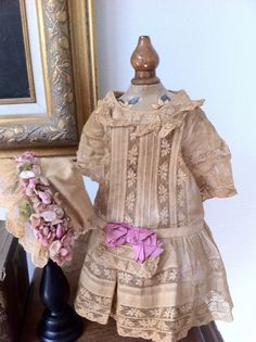 Antique doll dress & hat (Jumeau), c. 1900