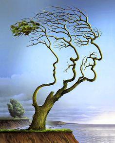 """""""Family Tree"""" Peinture de l'artiste polonais contemporain Wieslaw Smetek"""