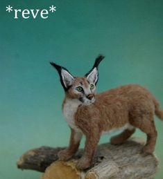 OOAK Realistic Handmade ~ Desert Lynx ~ Miniature Sculpture Dollhouse 1:12