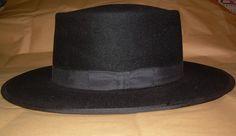 f17ac5252d9bc Dutch Amish Mens Black Felt Fur Hat Handmade By Flying Cloud Hat Co Size