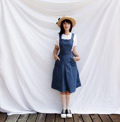 Vintage Denim Jumper Dress. $35.00, via Etsy.