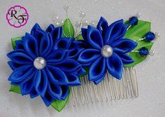 Plantilla de Flor Kanzashi flor de la cinta azul por RainOfFlowers