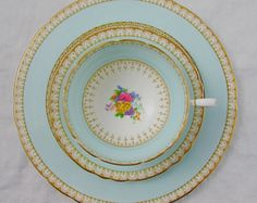 Paragon Trio, Blue with Hand Painted Flowers, Vintage Bone China - Tea Cup and Saucer and Plate