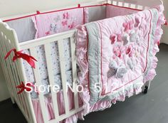 2017 New 6pcs Embroidered 3D Pink Butterfly Lace Baby Crib Cot