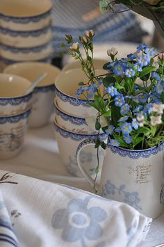 """Fay"" stoneware cups and linens, from Greengate. - I would love to have a set of these dishes."