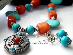 Turquoise Aventurine Necklace Set Stone Pendant by ChezBamboo, $65.00