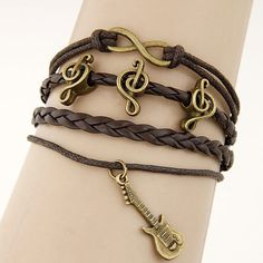 D27 Brown Antiqued Gold Guitar Music Note Infinity Leather Strand Charm Bracelet