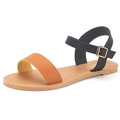 DREAM PAIRS HOBOO Women's Cute Open Toes One Band Ankle Strap Flexible Summer Flat Sandals New ** Click image for more details.