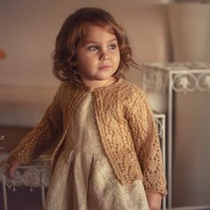 image Toddler Cardigan, Baby Girl Cardigans, Baby Girl Jackets, Girls Sweaters, Gold Cardigan, Knit Cardigan, Winter Cardigan, Hand Knitted Sweaters, Cotton Sweater