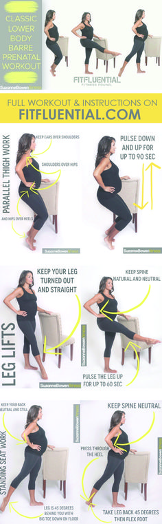 Have a fit pregnancy! Prenatal Barre workout. Click for full instructions. https://www.pinterest.com/yoganovice/yoga-for-pregnant-women/