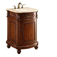 The Danville collection is finely hand crafted vanities and matching mirrors. The vanity is a single sink marbled top cabinet with a modest storage area underneath. Expert workmanship is evident in the detailed etchings from top to bottom.