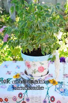 Декор предметов Мастер-класс Декупаж Декор цветочного горшка Клей Краска Салфетки фото 1