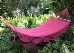In my back yard soon. Soon... Preciosa Pink Handwoven Hammock by MariaHammocks on Etsy, $80.00