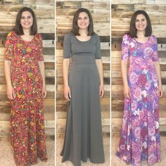 The #lularoeana is a #maxidress! It is so pretty and comfy! It would even be cute with a small knot to pull it up from the bottom a little!! www.SunnyHillBoutique.com  #sunnyhillboutique #floral #gray #longdress #easter #church #work #school #home  #easterdress #bride #bridal #dress #maxi ☀️