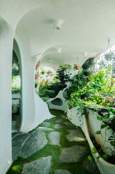 Garden room landscaping A Verdant Landscape Breathes Life into a One-Bedroom Apartment in a Suburb of Mumbai Maison Earthship, Earthship Home, Earthship Design, Organic Architecture, Futuristic Architecture, Interior Architecture, Futuristic Houses, Architecture Life, Architecture Panel