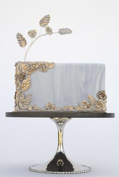 Elegant Grey Marble and Gold Cake
