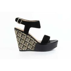 Versace 19.69 Abbigliamento Sportivo Srl Milano Italia  ladies wedge sandal 5960-3950. Made of: 50% SUEDE LEATHER + 50% FABRICDetails: 5960-3950 CAMOSCIO NERO - Color: Black - Composition: 50% SUEDE LEATHER + 50% FABRIC - Sole: RUBBER - Heel: 11 cm - Made: ITALYSPECIAL NOTE: this item is subject to a 3/6 days minimum delivery time.