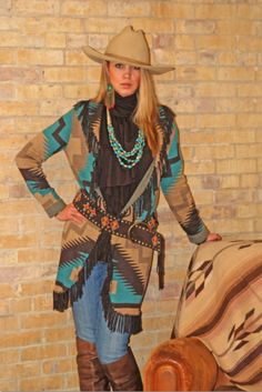 Make mine cowgirl style - Tasha Polizzi Red Horse Turquoise and Tan Cardigan Cowgirl Look, Western Look, Cowgirl Chic, Western Chic, Western Wear, Estilo Cowgirl, Estilo Hippie Chic, Cow Girl, Cowgirl Outfits