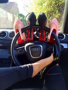 Image via We Heart It https://weheartit.com/entry/147402388 #audi #car #girly #heels #highheels #luxury #lauboutin