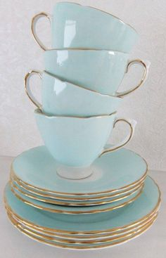 tea cups, saucers and side plates in Delphine china in lovely duck egg blue/ aqua. Delphine China was made by JH Middleton at the Delphine Pottery Works in Longton, England. This tea set dates from 1930 to 1941 Vintage Dishes, Vintage China, Vintage Teacups, Tea Sets Vintage, Shabby Vintage, Shabby Chic, Vintage Style, Cooler Stil, Bleu Pastel