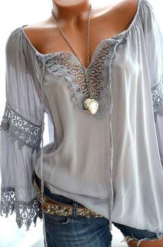 ITALY Häkel Tunika CARMEN Flügelärmel HELLGRAU Häkelspitze BOHO 36 38 40 42 NEU in Kleidung & Accessoires, Damenmode, Blusen, Tops & Shirts | eBay!