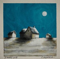 Nightscape painting with full moon and houses, winter image, house picture, original art, 6x6 acrylic painting within an 11x14 inches mount