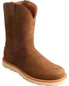 The Distressed Saddle Casual Western Boots from Twisted X Boots are made from full-grain leather and feature an oil and slip resistant rubber outsole Slip On Work Boots, Pull On Boots, Western Outfits, Western Boots, Boat Shoes, Men's Shoes, Twisted X Boots, Exercise To Reduce Thighs, Slim Thighs