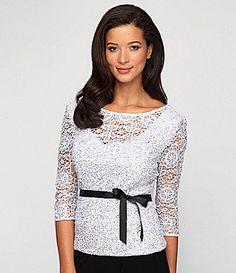 Alex Evenings Sequined Lace Blouse #Dillards