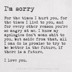 I'm sorry For the times I hurt you, for the times I lied to you, and for every other reason you're so angry at me. I know my apologies don't mean shit to you, but aside from that, all I can do is promise to try to be better in the future, if there is a future. I love you.