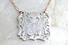 Ornate Vintage Style Initial Necklace of Fine and by SSMDesign, $96.00
