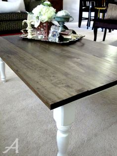 Refinish cheap dining table as desk w dark top & white legs