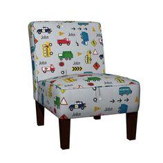 Maran Slipper Chair featuring cars & trucks  XL multi-metro gray linen- PERSONALIZED John by drapestudio | Roostery Home Decor