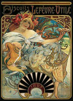 ¤ Biscuits Lefèvre-Utile 1897 by Alphonse Mucha. Vintage art nouveau ad. Thz LU biscuits still exist. ..