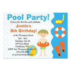 Pool Party Invitations Custom Boy Birthday Pool Party Card