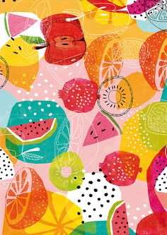 Summertime Archival Art Print a brightly coloured summer fruit pattern by lovelysweetwilliam on Etsy https://www.etsy.com/listing/213648752/summertime-archival-art-print-a-brightly
