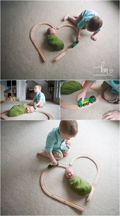 brothers playing trains - newborn with train track