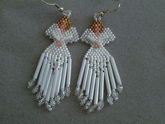 Beaded Angel Earrings in White delica by DsBeadedCrochetedEtc, $18.00