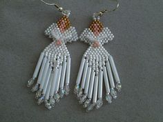 Beaded Angel Earrings in White delica by DsBeadedCrochetedEtc, $18.00