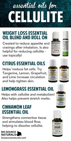 Essential oils for cellulite and skin toning.