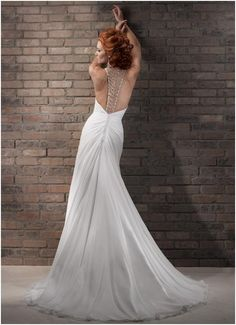 Sheath - New Chiffon Size 12 Wedding Dress For Sale | Still White New Zealand