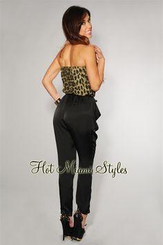 Olive Leopard Print Black Belted Jumpsuit