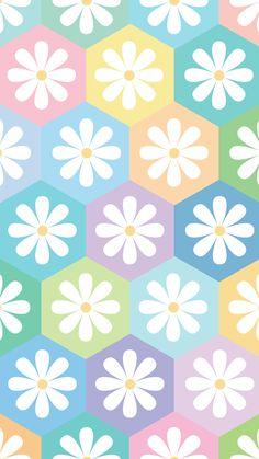 Phone wallpaper. 'pastel hexagon flower' design