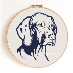 Vizsla Head Silhouette Dog Counted Cross Stitch Pattern Instant Download