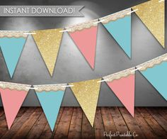 Shabby Chic Banner, Shabby Chic Birthday Banner, Shabby Chic Bunting Banner, Pink and Blue, Rustic, Printable Digital Instant Download #122 by PerfectPrintableCo on Etsy