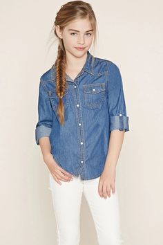 Girls Chambray Shirt (Kids) #f21kids