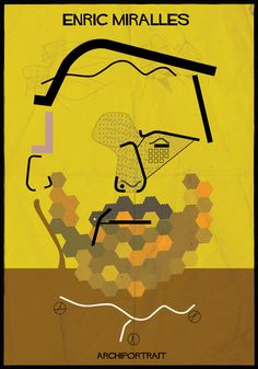 Portraits Of Architects, Drawn In The Styles Of Their Most Famous Works / Enric Miralles