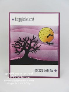 Spooky Fun Halloween Card with Sponged Sky... #stampyourartout - Stampin' Up!®…