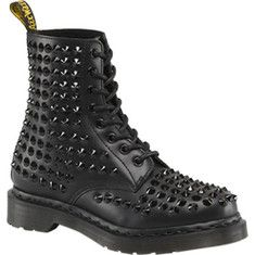 Gothic was born out of the aftermath of punk and subsequently these two tribes actually have several stylistic pointers in common. Aggressive and hard-edged is one of such element offered on Spike All Stud 8 Eye Boot.