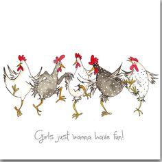 Meisjes wil gewoon te hebben plezier wenskaart - grappige verjaardagskaart voor kip